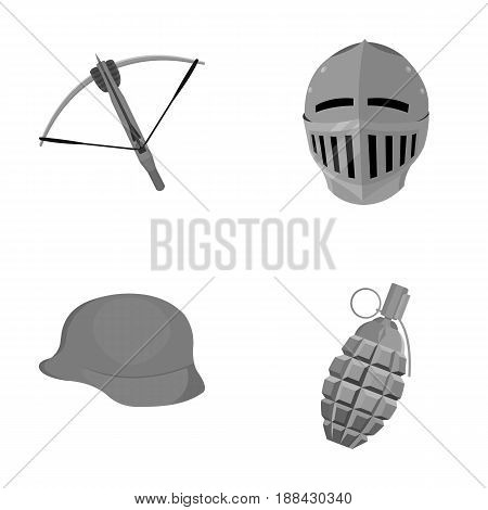 Crossbow, medieval helmet, soldier's helmet, hand grenade. Weapons set collection icons in monochrome style vector symbol stock illustration .