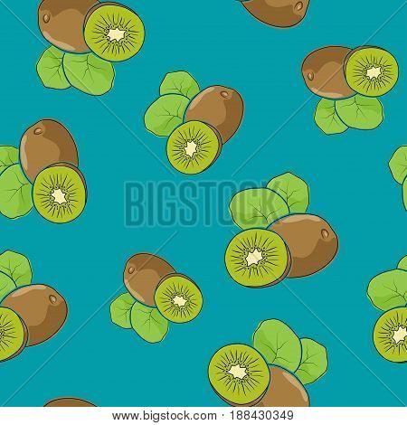 Seamless Pattern of Kiwifruit, Fruit Kiwi on Azure Background, Vector Illustration