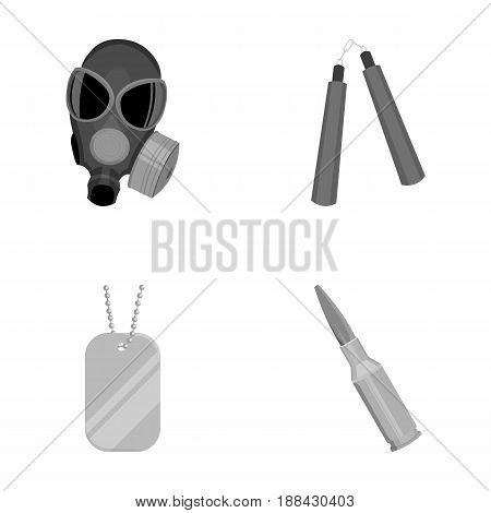 Gas mask, nunchak, ammunition, soldier's token. Weapons set collection icons in monochrome style vector symbol stock illustration .