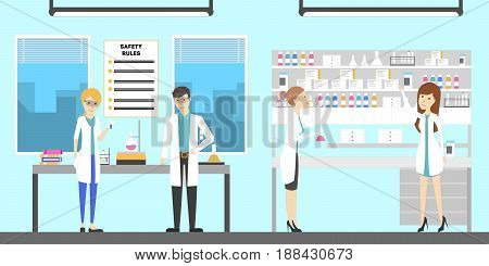 Work at pharmacy laboratory. People in white uniform.