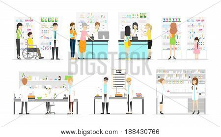 Work at pharmacy laboratory set. People in white uniform on white background.