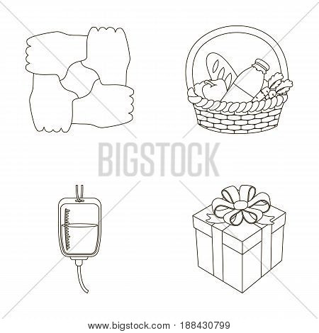 Gesture of the hands in support, a basket with food for charity, donor blood, a gift donation box. Charity and donation set collection icons in outline style vector symbol stock illustration .