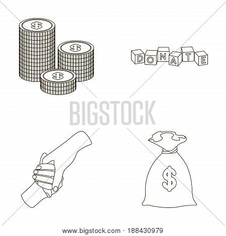 A pile of coins for donations, colored cubes with an inscription, a handshake, a bag of money for donations. Charity and donation set collection icons in outline style vector symbol stock illustration .