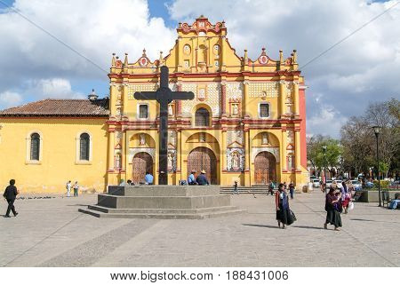 The Cathedral Of San Cristobal De Las Casas On Mexico