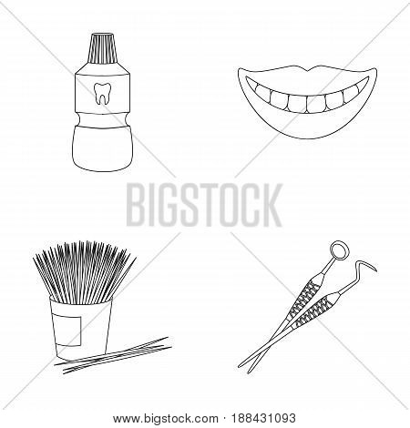 Dental sterile liquid in the jar, lips, teeth, toothpicks in the jar, medical instruments for the dentist. Dental care set collection icons in outline style vector symbol stock illustration .