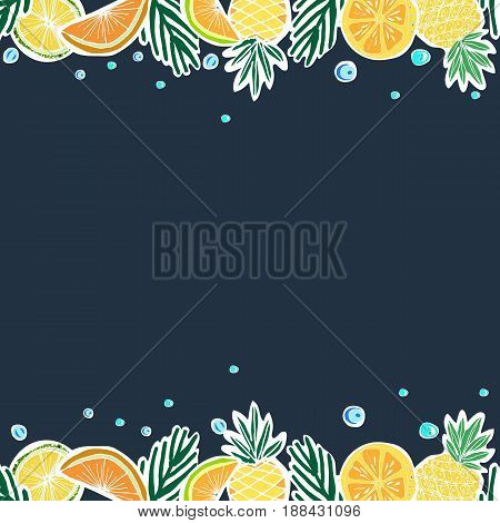 Tropical Travelling Objects. Frame. Travel and Recreation Time Concept. Hand Drawn Vector illustration.