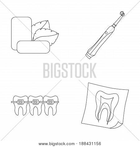 Mint chewing gum with mint leaves, toothbrush with bristles, bregettes with teeth, X-ray of the tooth. Dental care set collection icons in outline style vector symbol stock illustration .