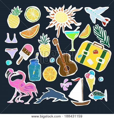 Tropical Travelling Objects Set. Travel and Recreation Time Concept. Hand Drawn Vector illustration.Stickers And Badges.