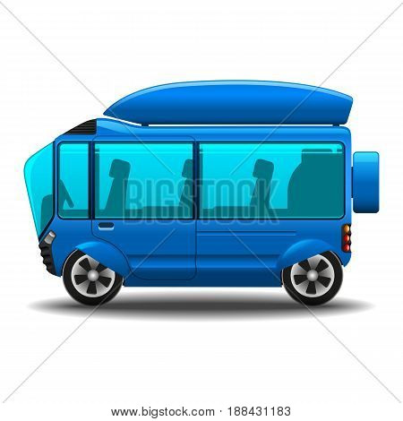 Eco-car with electric motor for traveling with family and friends without harm to the environment