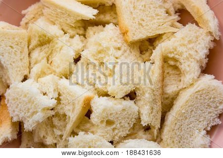 White bread crumb in glass bowl for cooking cutlets