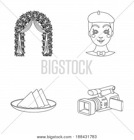 The arch is decorated with roses and silk, a clown in a cap, a plate with red napkins, a video camera. Event services set collection icons in outline style vector symbol stock illustration .