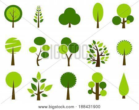 Set of trees vector illustration on white background
