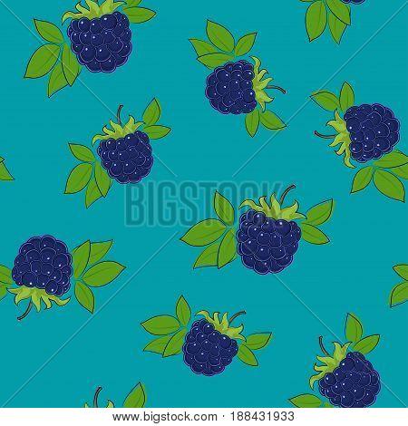 Seamless Pattern of Blackberry Fruit Berry on Azure Background Vector Illustration