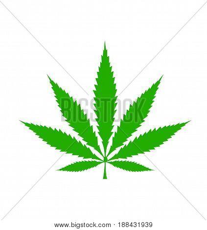Cannabis leaf icon illustration on white background