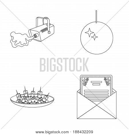 A video camera with smoke, a twirling holiday ball, a plate of sandwiches, an envelope with a greeting card. Event services set collection icons in outline style vector symbol stock illustration .