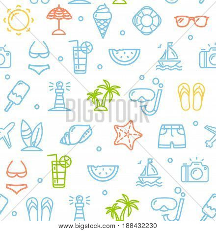 Summer Travel Recreation Holiday Color Pattern Background witch Outline Icons for Your Business. Vector illustration