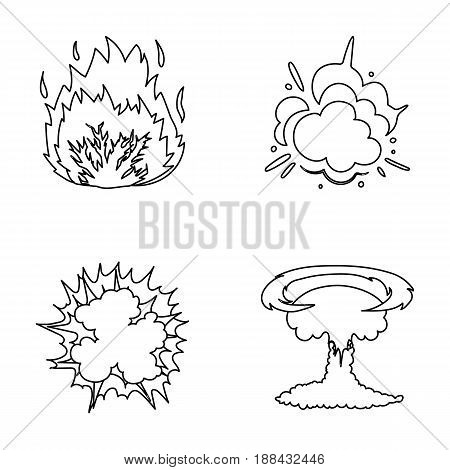 Flame, sparks, hydrogen fragments, atomic or gas explosion. Explosions set collection icons in outline style vector symbol stock illustration .