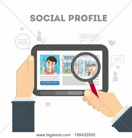 Social profile in media networks. Profile picture with personal information. Male account.