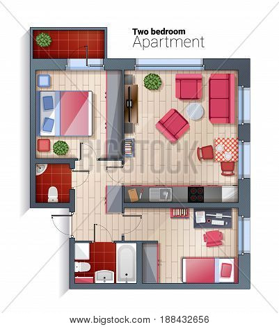 Vector top view illustration of modern two bedroom apartment. Detailed architectural plan of dining room combined with kitchen, bathroom, bedroom. Home interior with comfortable furniture.