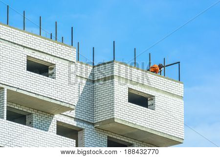 Construction of the new moden residential buildings against blue sky