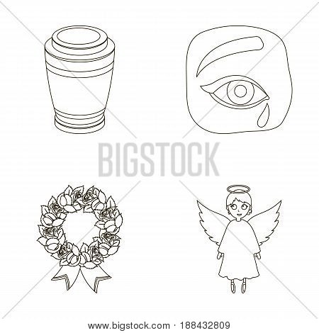 The urn with the ashes of the deceased, the tears of sorrow for the deceased at the funeral, the mourning wreath, the angel of death. Funeral ceremony set collection icons in outline style vector symbol stock illustration .