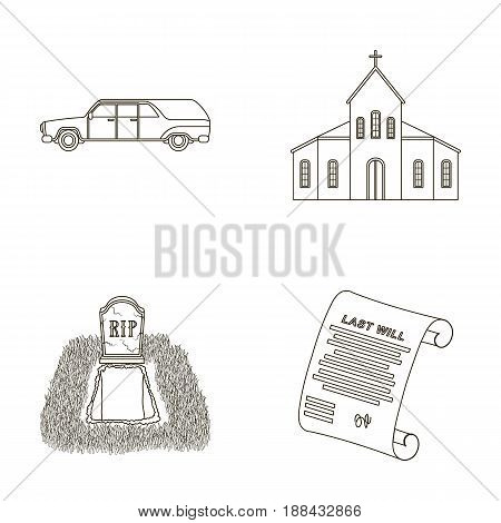 Black cadillac to transport the grave of the deceased, a church for a funeral ceremony, a grave with a tombstone, a death certificate. Funeral ceremony set collection icons in outline style vector symbol stock illustration .