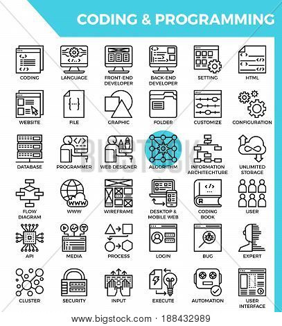 Coding & Programming Concept Detailed Line Icons