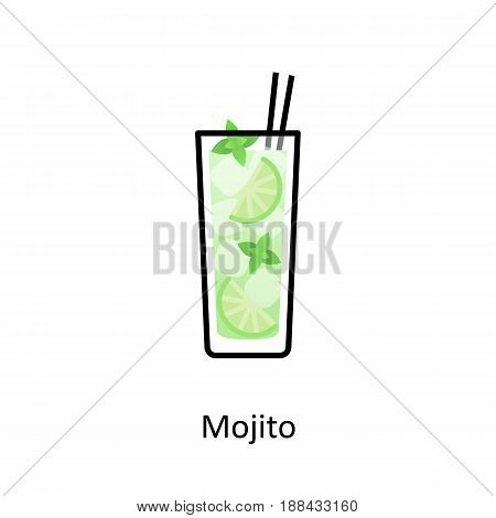 Mojito cocktail icon in flat style. Vector illustration