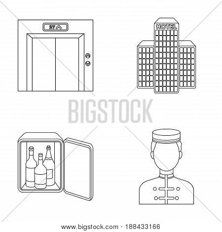 Elevator car, mini bar, staff, building.Hotel set collection icons in outline style vector symbol stock illustration .