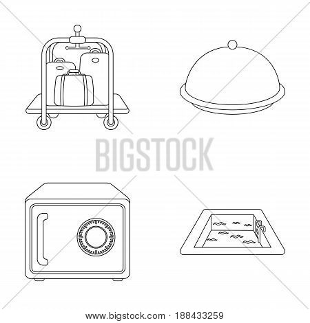 Trolley with luggage, safe, swimming pool, clutch.Hotel set collection icons in outline style vector symbol stock illustration .