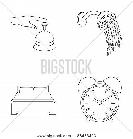 Call at the reception, alarm clock, bed, shower.Hotel set collection icons in outline style vector symbol stock illustration .