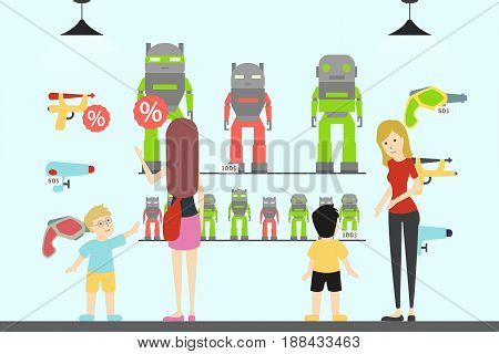 Toy shop interior. Children with parents want to buy the toys. Monsters and aliens.