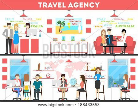 Travel agency interior set. Agents with visitors decide where to go.