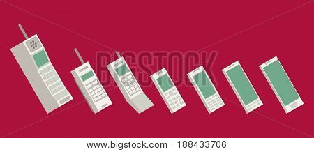 Cell phone evolution illustration. Flat vector set