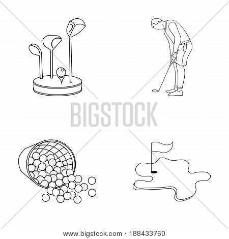 Stand for a golf club, muzhchin playing with a club, basket with balls, label with a flag on the golf course. Golf Club set collection icons in outline style vector symbol stock illustration .