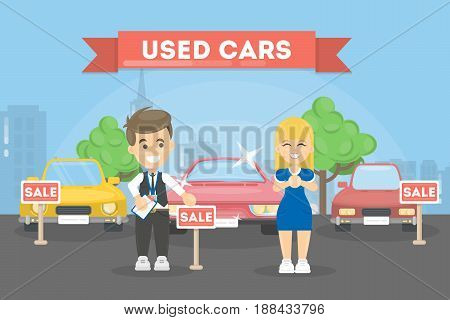 Used cars store. Woman wants to buy the car.