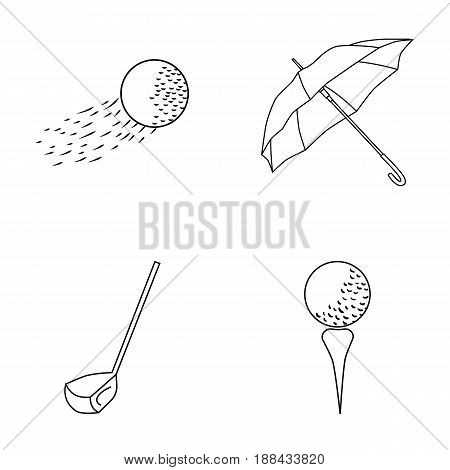 A flying ball, a yellow umbrella, a golf club, a ball on a stand. Golf Club set collection icons in outline style vector symbol stock illustration .