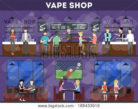 Vape shop interior set. Cafe with e-cigarettes.