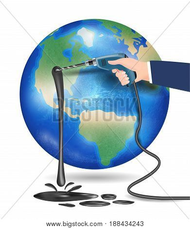 planet earth with hand using electric drill drilling oil