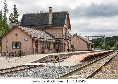 TOLGA NORWAY - AUGUST 10 2011: Railway train station in the small town of Tolga