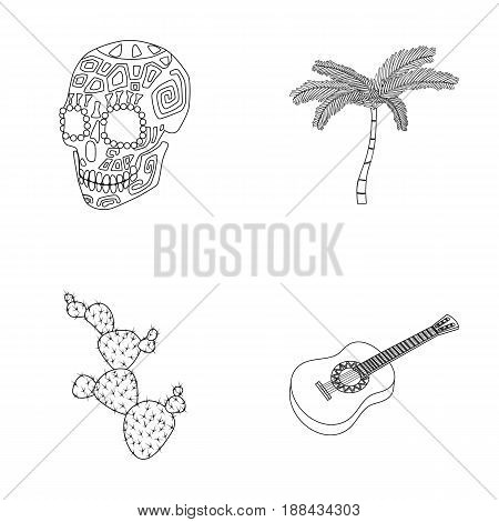 Green skull with a picture, a palm tree, a guitar, a national Mexican instrument, a cactus with spines. Mexico country set collection icons in outline style vector symbol stock illustration .