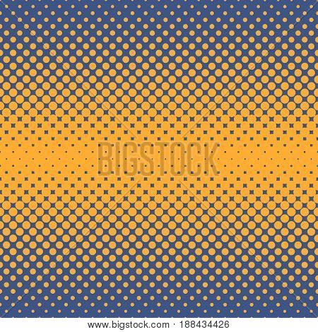 Halftone abstract background of circular elements in orange and complement colors and in the direction from the center to the sides vertically
