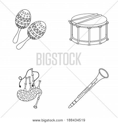 Maracas, drum, Scottish bagpipes, clarinet. Musical instruments set collection icons in outline style vector symbol stock illustration .