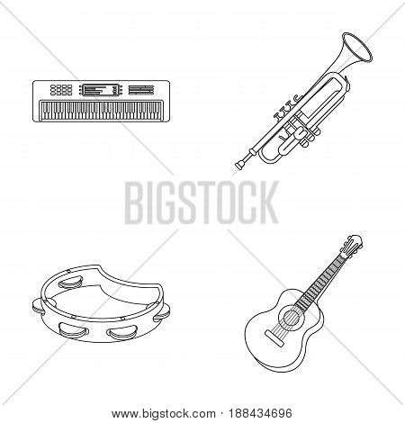 Electro organ, trumpet, tambourine, string guitar. Musical instruments set collection icons in outline style vector symbol stock illustration .