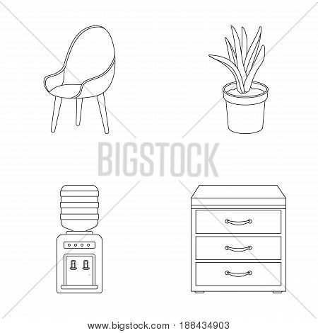 A red chair with a comfortable back, an aloe flower in a pot, an apparatus with clean water, a cabinet for office papers. Office Furniture set collection icons in outline style vector symbol stock illustration .