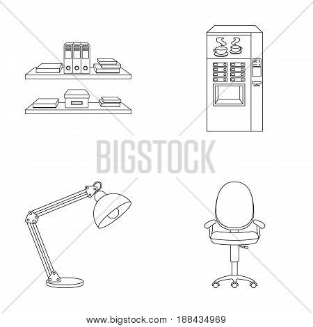 Shelves, folders and notebooks with business records, a coffee machine with cups, an armchair with a backrest on wheels, a desk lamp. Office Furniture set collection icons in outline style vector symbol stock illustration .
