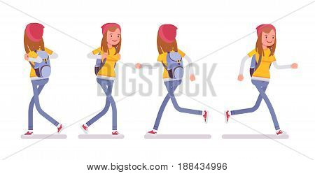 Teenager girl wearing cute beanie and urban messenger rucksack, casual slim fit dressing, walking and running pose, front, rear view, vector flat style cartoon illustration, isolated, white background
