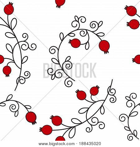 Vector seamless pattern with pomegranates. Floral pattern for cushion, pillow, bandanna, silk kerchief or shawl fabric print. Texture for clothes, bedclothes