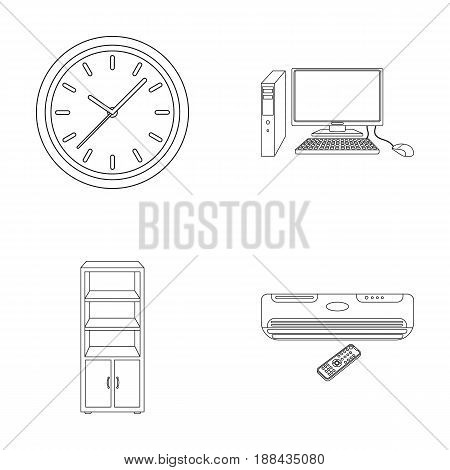 Clock with arrows, a computer with accessories for work in the office, a cabinet for storing business papers, air conditioning with remote control. Office Furniture set collection icons in outline style vector symbol stock illustration .