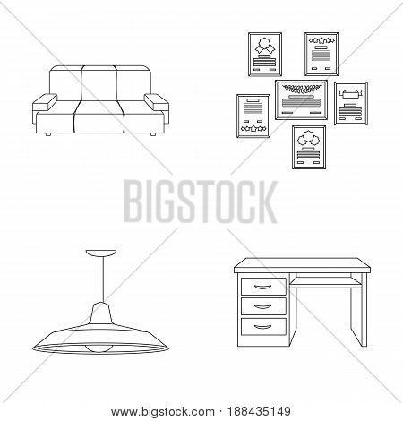 Comfortable sofa, letters and diplomas within the framework, an office ceiling lamp, a desk with drawers. Office Furniture set collection icons in outline style vector symbol stock illustration .
